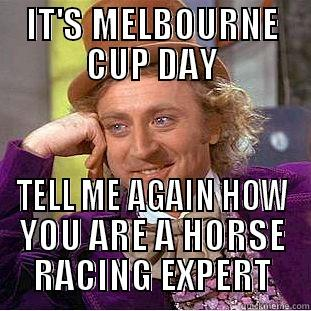 Melbourne Cup Wonka - IT'S MELBOURNE CUP DAY TELL ME AGAIN HOW YOU ARE A HORSE RACING EXPERT Condescending Wonka