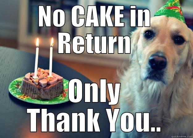 NO CAKE IN RETURN ONLY THANK YOU.. Sad Birthday Dog