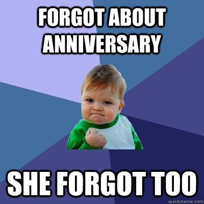 Forgot about anniversary  she forgot too - Forgot about anniversary  she forgot too  Success Kid