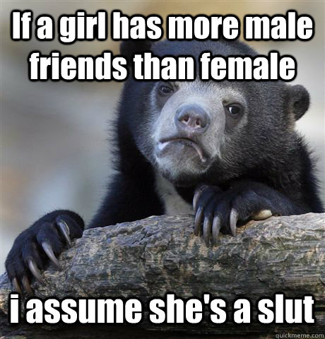 If a girl has more male friends than female i assume she's a slut - If a girl has more male friends than female i assume she's a slut  Confession Bear