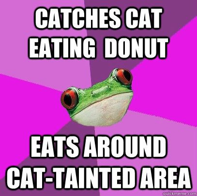 Catches cat eating  donut Eats around cat-tainted area - Catches cat eating  donut Eats around cat-tainted area  Foul Bachelorette Frog
