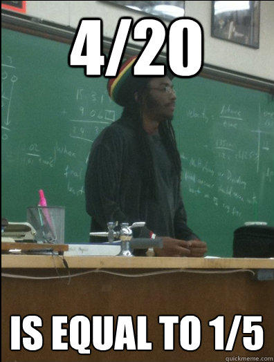 4/20 is equal to 1/5 - 4/20 is equal to 1/5  Rasta Science Teacher