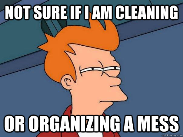Not sure if I am Cleaning  Or organizing a mess - Not sure if I am Cleaning  Or organizing a mess  Futurama Fry