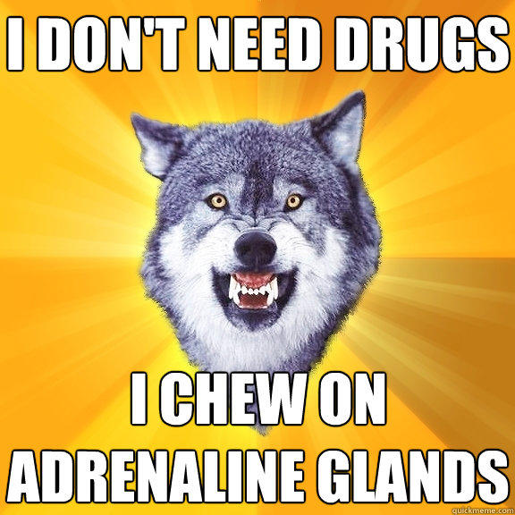 i don't need drugs i chew on adrenaline glands - i don't need drugs i chew on adrenaline glands  Courage Wolf