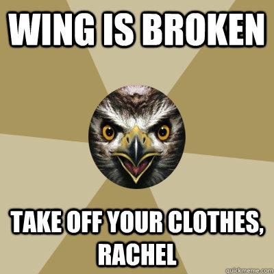 Wing is broken take off your clothes, rachel  Bird Boy