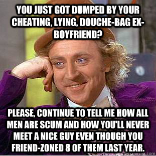 You just got dumped by your cheating, lying, douche-bag ex-Boyfriend? Please, continue to tell me how all men are scum and how you'll never meet a nice guy even though you friend-zoned 8 of them last year.  - You just got dumped by your cheating, lying, douche-bag ex-Boyfriend? Please, continue to tell me how all men are scum and how you'll never meet a nice guy even though you friend-zoned 8 of them last year.   Condescending Wonka