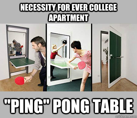 Necessity For Ever College Apartment Ping Pong Table