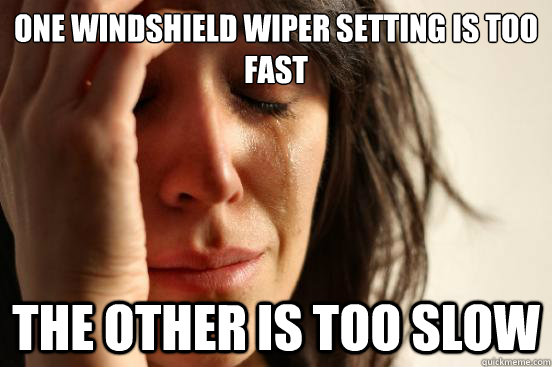 One windshield wiper setting is too fast the other is too slow - One windshield wiper setting is too fast the other is too slow  First World Problems