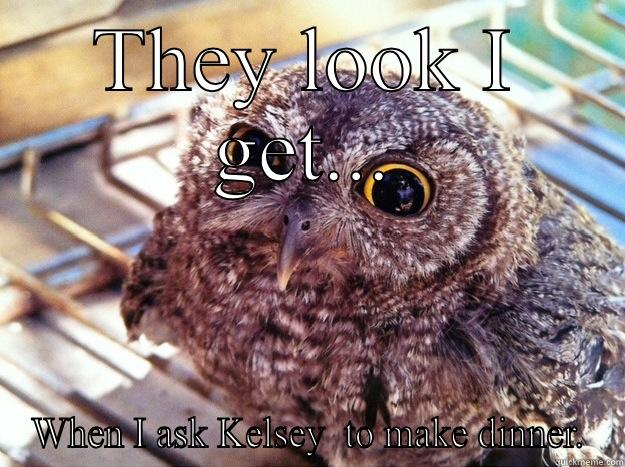 THEY LOOK I GET... WHEN I ASK KELSEY  TO MAKE DINNER. Skeptical Owl