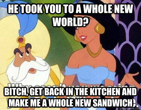 he took you to a whole new world? Bitch, get back in the kitchen and make me a whole new sandwich
