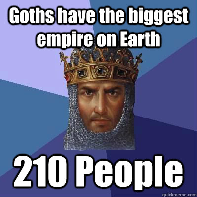 Goths have the biggest empire on Earth  210 People