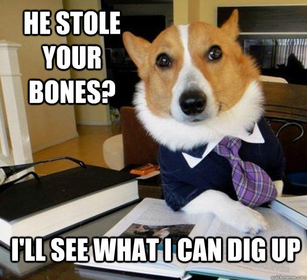 He stole your bones? I'll see what I can dig up - He stole your bones? I'll see what I can dig up  Lawyer Dog