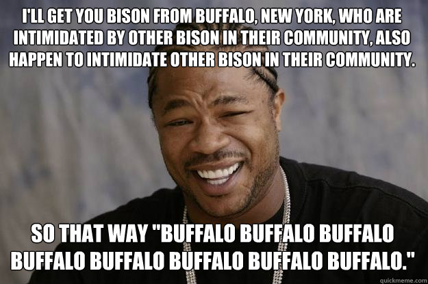 i'LL GET YOU Bison from Buffalo, New York, who are intimidated by other bison in their community, also happen to intimidate other bison in their community. SO tHAT WAY
