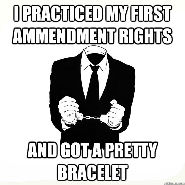 I practiced my first ammendment rights and got a pretty bracelet  Arresting Idea
