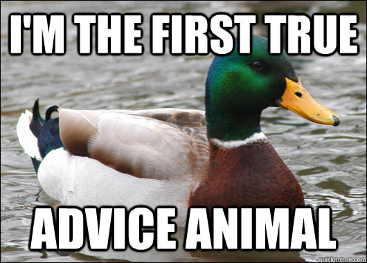 I'M THE FIRST TRUE ADVICE ANIMAL - I'M THE FIRST TRUE ADVICE ANIMAL  Actual Advice Mallard