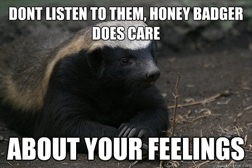 Dont listen to them, honey badger does care about your feelings - Dont listen to them, honey badger does care about your feelings  HBcares