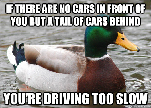 If there are no cars in front of you but a tail of cars behind You're driving too slow - If there are no cars in front of you but a tail of cars behind You're driving too slow  Actual Advice Mallard