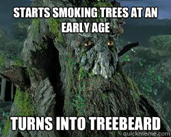 Starts smoking trees at an early age Turns into Treebeard