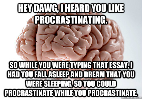 Hey dawg, I heard you like procrastinating. so while you were typing that essay, I had you fall asleep and dream that you were sleeping, so you could procrastinate while you procrastinate. - Hey dawg, I heard you like procrastinating. so while you were typing that essay, I had you fall asleep and dream that you were sleeping, so you could procrastinate while you procrastinate.  Scumbag Brain