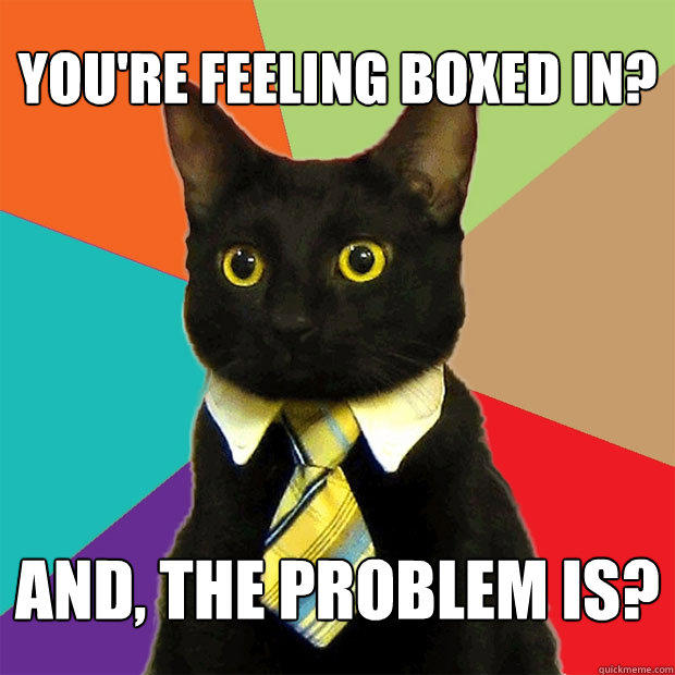 You're feeling boxed in? And, the problem is? - You're feeling boxed in? And, the problem is?  Business Cat