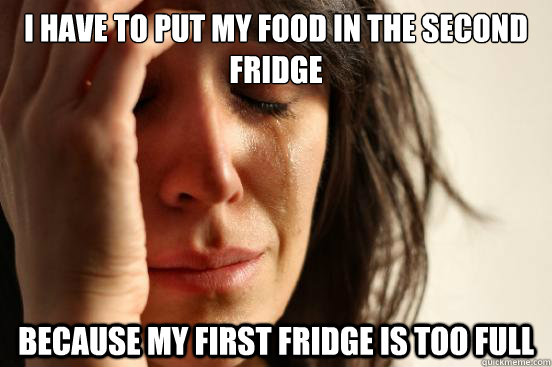 I have to put my food in the second fridge Because my first fridge is too full - I have to put my food in the second fridge Because my first fridge is too full  First World Problems