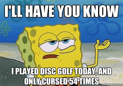 I'll Have you know I played disc golf today, and only cursed 54 times - I'll Have you know I played disc golf today, and only cursed 54 times  sponge