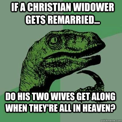 If a Christian widower gets remarried... do his two wives get along when they're all in heaven?