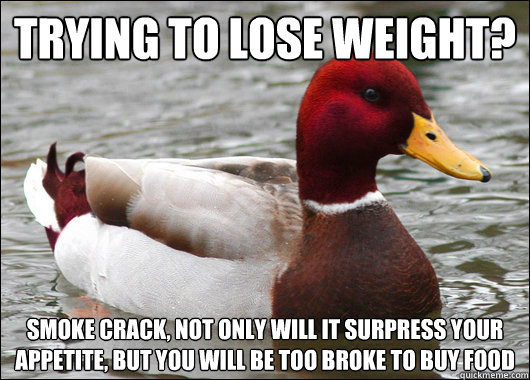 Trying to lose weight? Smoke crack, not only will it surpress your appetite, but you will be too broke to buy food - Trying to lose weight? Smoke crack, not only will it surpress your appetite, but you will be too broke to buy food  Malicious Advice Mallard