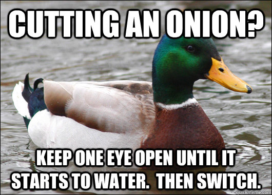 Cutting an onion?  Keep one eye open until it starts to water.  Then switch. - Cutting an onion?  Keep one eye open until it starts to water.  Then switch.  Actual Advice Mallard