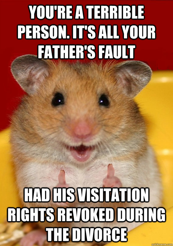 You're a terrible person. It's all your father's fault Had his visitation rights revoked during the divorce   Rationalization Hamster