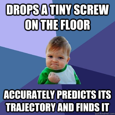 Drops a tiny screw on the floor accurately predicts its trajectory and finds it - Drops a tiny screw on the floor accurately predicts its trajectory and finds it  Success Kid