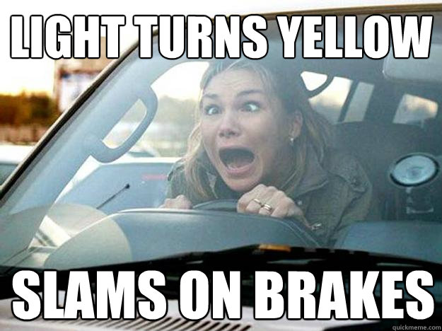 light turns yellow slams on brakes