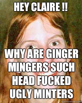 Hey claire !! Why are ginger mingers such  head fucked   ugly minters