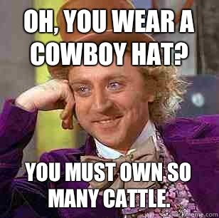 Oh, you wear a cowboy hat? You must own so many cattle. - Oh, you wear a cowboy hat? You must own so many cattle.  Condescending Wonka