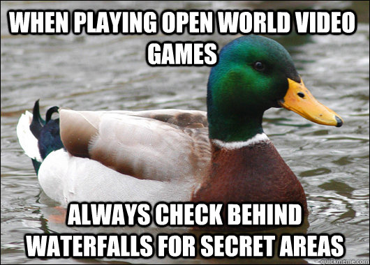 When playing open world video games always check behind waterfalls for secret areas - When playing open world video games always check behind waterfalls for secret areas  Actual Advice Mallard