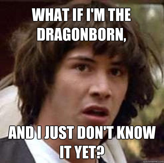 What if I'm the Dragonborn, And I just don't know it yet? - What if I'm the Dragonborn, And I just don't know it yet?  conspiracy keanu