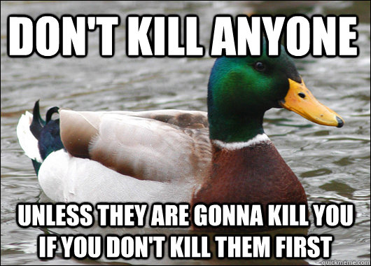Don't Kill Anyone Unless they are gonna kill you if you don't kill them first - Don't Kill Anyone Unless they are gonna kill you if you don't kill them first  Actual Advice Mallard