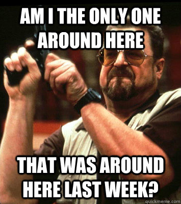 AM I THE ONLY ONE AROUND HERE  that was around here last week?