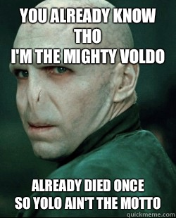 YOU ALREADY KNOW THO I'M THE MIGHTY VOLDO ALREADY DIED ONCE SO YOLO AIN'T THE MOTTO  Voldemort YOLO