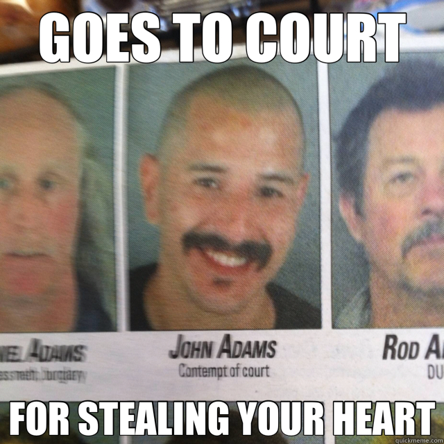 GOES TO COURT FOR STEALING YOUR HEART