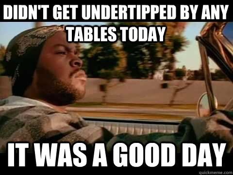 Didn't Get undertipped by any tables today it was a good day
