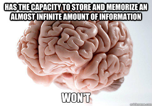HAS THE CAPACITY TO STORE AND MEMORIZE AN ALMOST INFINITE AMOUNT OF INFORMATION WON'T  - HAS THE CAPACITY TO STORE AND MEMORIZE AN ALMOST INFINITE AMOUNT OF INFORMATION WON'T   Scumbag Brain