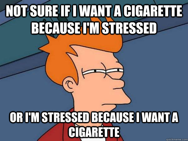 not sure if i want a cigarette because i'm stressed or i'm stressed because i want a cigarette  Futurama Fry