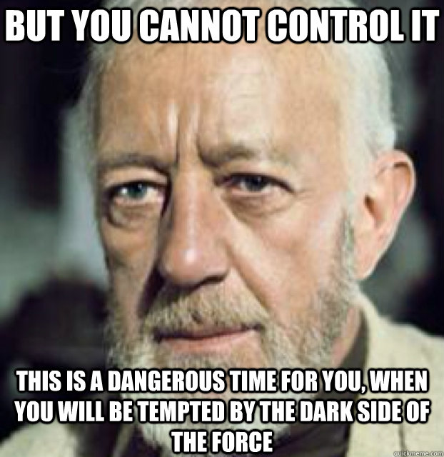 But you cannot control it this is a dangerous time for you, when you will be tempted by the dark side of the force