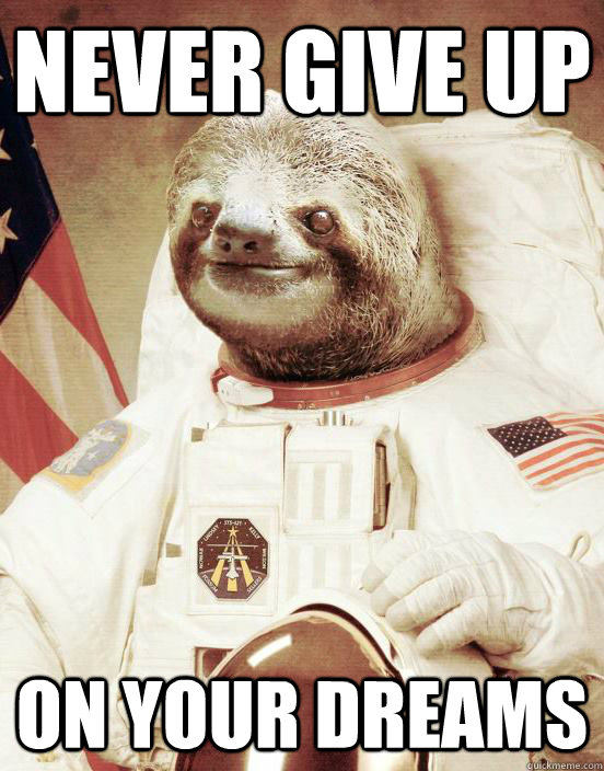 ba9f29a86e0ccc03dd1752789ac35f166fb34407c0b2040290fa0200fca1ed6a never give up on your dreams astronaut sloth quickmeme