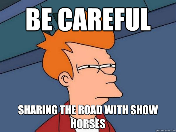Be careful sharing the road with show horses - Be careful sharing the road with show horses  Futurama Fry