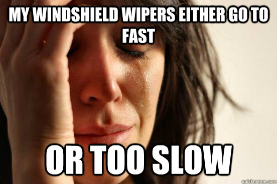 my windshield wipers either go to fast or too slow - my windshield wipers either go to fast or too slow  First World Problems
