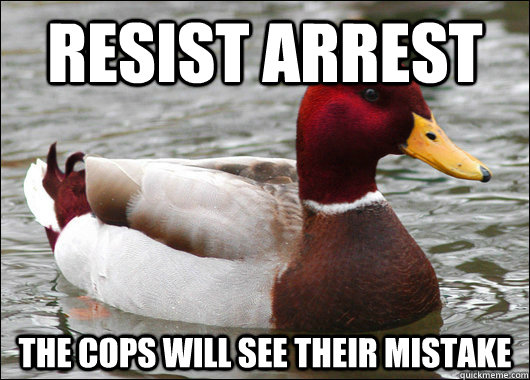 resist arrest The cops will see their mistake  - resist arrest The cops will see their mistake   Malicious Advice Mallard