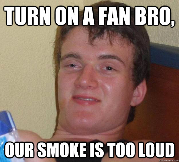 Turn on a fan bro, our smoke is too loud - Turn on a fan bro, our smoke is too loud  10 Guy