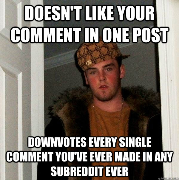 Doesn't like your comment in one post Downvotes every single comment you've ever made in any subreddit ever - Doesn't like your comment in one post Downvotes every single comment you've ever made in any subreddit ever  Scumbag Steve